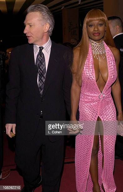 Bill Maher and Coco Johnsen during 2004 Clive Davis PreGrammy Party Red Carpet at Beverly Hills Hotel in Beverly Hills California United States