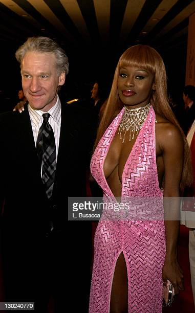 Bill Maher and Coco Johnsen during 2004 Clive Davis PreGrammy Party – Inside Arrivals at Beverly Hills Hotel in Beverly Hills California United States