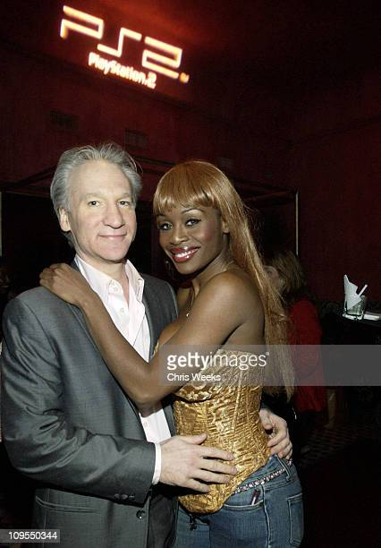Bill Maher and Coco Johnsen during PlayStation 2 PreGrammy Party Hosted by Pharrell at The Spider Room in Hollywood California United States