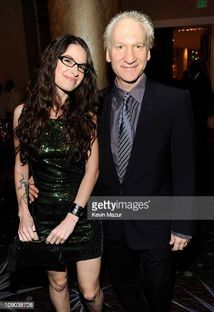 Bill Maher and guest attends the 2011 PreGRAMMY Gala and Salute To Industry Icons Honoring David Geffen at The Beverly Hilton Hotel on February 12...