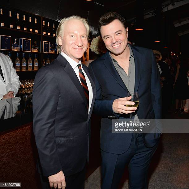 Bill Maher and Seth MacFarlane attend the 2015 Vanity Fair Oscar Party hosted by Graydon Carter at the Wallis Annenberg Center for the Performing...