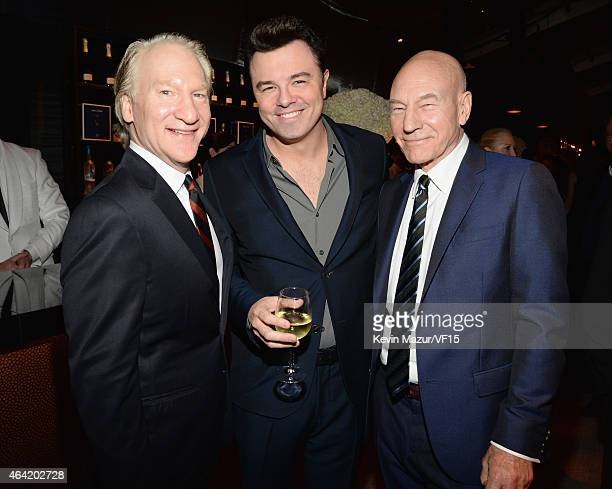 Bill Maher Seth MacFarlane and Patrick Stewart attend the 2015 Vanity Fair Oscar Party hosted by Graydon Carter at the Wallis Annenberg Center for...