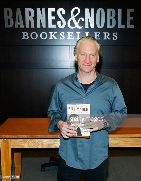 """Bill Maher signs copies of his new book """"The New New Rules"""" at Barnes & Noble bookstore at The Grove on November 17, 2011 in Los Angeles, California."""