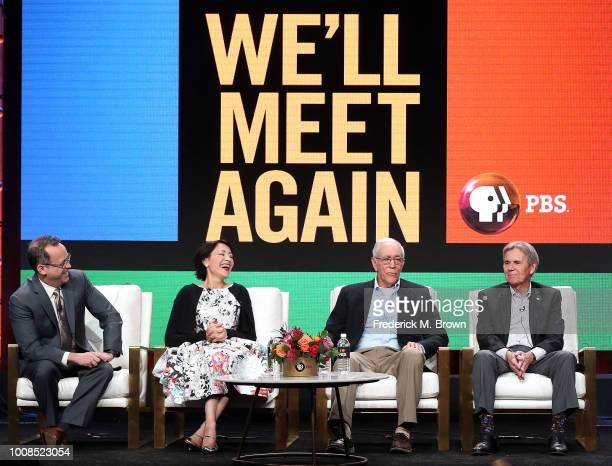 Bill Margol Ann Curry Dave Johnson and Roger Wagner of the television show 'We'll Me Again' speak during the PBS segment of the Summer 2018...