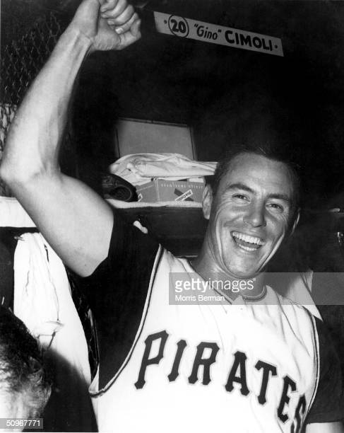 Bill Mazeroski of the Pittsburgh Pirates celebrates in the locker room after a 1960 World Series game against the New York Yankees at Forbes Field in...