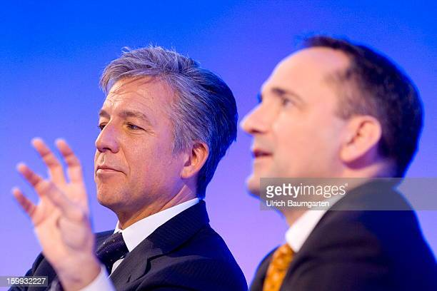 Bill McDermott and Jim Hagemann Snabe COCEOs of SAP AG attend the annual results press conference on January 23 2013 in Walldorf Germany SAP AG the...