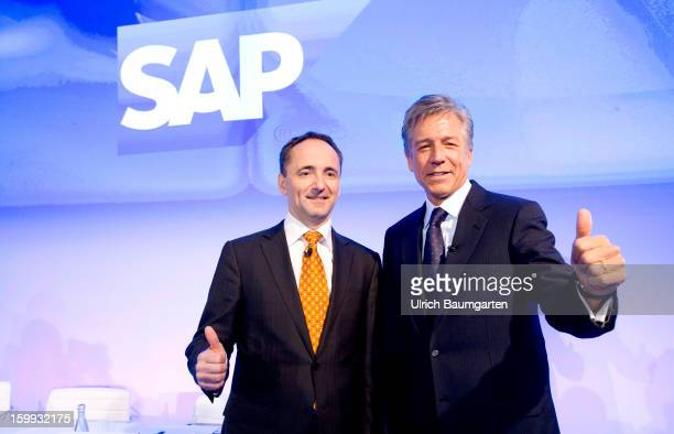 Bill McDermott and Jim Hagemann Snabe COCEOs of SAP AG during the annual results press conference on January 23 2013 in Walldorf Germany SAP AG the...