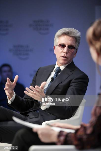 Bill McDermott, chief executive officer of SAP AG, gestures as he speaks during a panel session on the opening day of the World Economic Forum in...