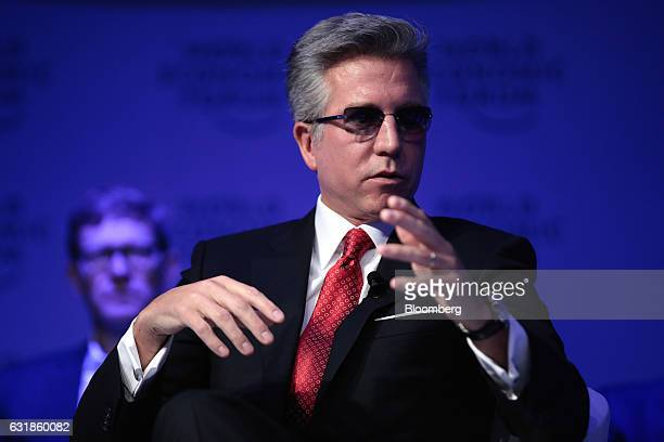 Bill McDermott chief executive officer of SAP AG gestures as he speaks during a panel session at the World Economic Forum in Davos Switzerland on...