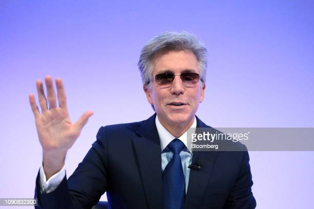 Bill McDermott, chief executive officer of SAP AG, gestures during a full year earnings news conference at the software companys headquarters in...