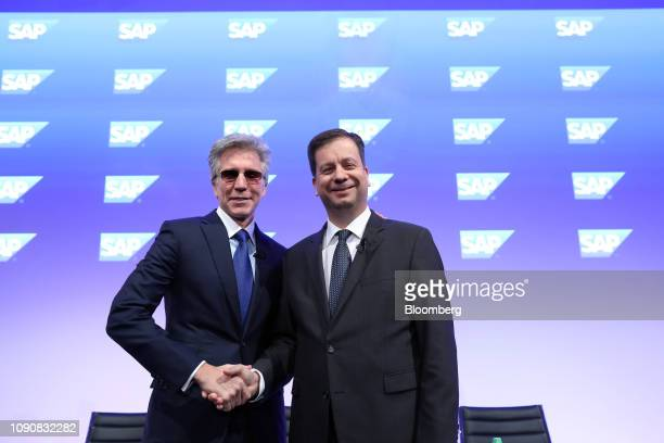 Bill McDermott, chief executive officer of SAP AG, left, and Luka Mucic, chief financial officer of SAP SE, poses for a photograph following a full...