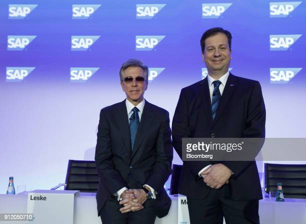 Bill McDermott chief executive officer of SAP SE left and Luka Mucic chief financial officer of SAP SE pose for a news conference to announce the...