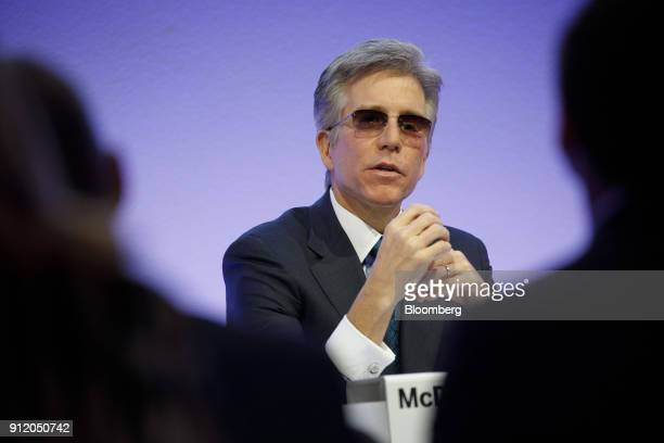 Bill McDermott chief executive officer of SAP SE speaks during a news conference to announce the company's fourthquarter results in Walldorf Germany...