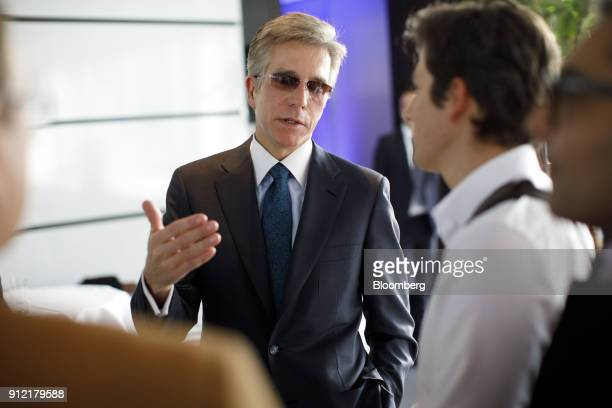 Bill McDermott chief executive officer of SAP SE speaks to journalists following a news conference to announce the businesssoftware maker's...