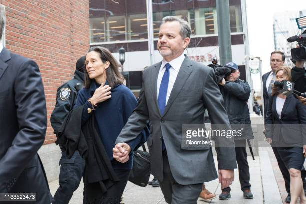 Bill McGlashan a former top executive at TPG Growth LLC who wasfired after he was charged center arrives at federal court in Boston Massachusetts US...
