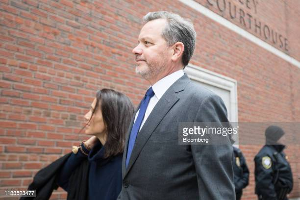 Bill McGlashan a former top executive at TPG Growth LLC who wasfired after he was charged arrives at federal court in Boston Massachusetts US on...