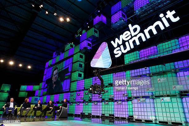 Bill McGlashan Eric Wahlfors Dana Brunetti Bono and David Carr attend a panel discussion on the Web Summit Centre Stage at the 2014 Web Summit on...
