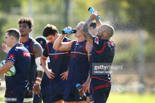 Bill Meakes cools down during a Melbourne Rebels Super Rugby training session at Gosch's Paddock on February 26 2018 in Melbourne Australia
