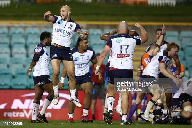 Bill Meakes of the Rebels celebrates victory during the round five Super Rugby AU match between the Western Force and the Melbourne Rebels at...