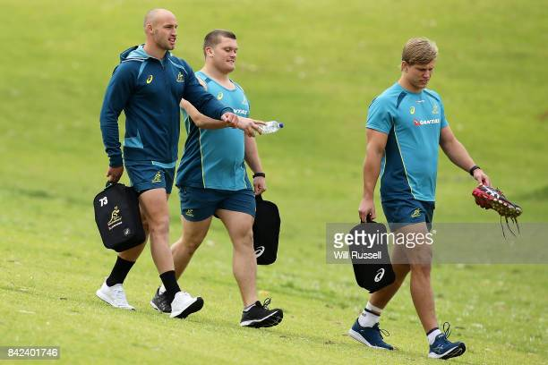 Bill Meakes Tom Robertson and Adam Korczyk arrive during an Australian Wallabies training session at McGillivray Oval on September 4 2017 in Perth...