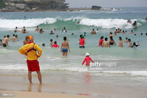 Bill Measday a volenteer lifesaver keeps watch over the beach at Bondi Beach on December 9 2007 in Sydney Australia The Bondi Surf Bathers' Life...