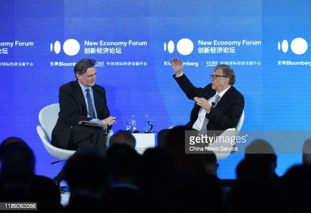 Bill Melinda Gates Foundation Chairman Bill Gates speaks during 2019 New Economy Forum at China Center for International Economic Exchanges on...