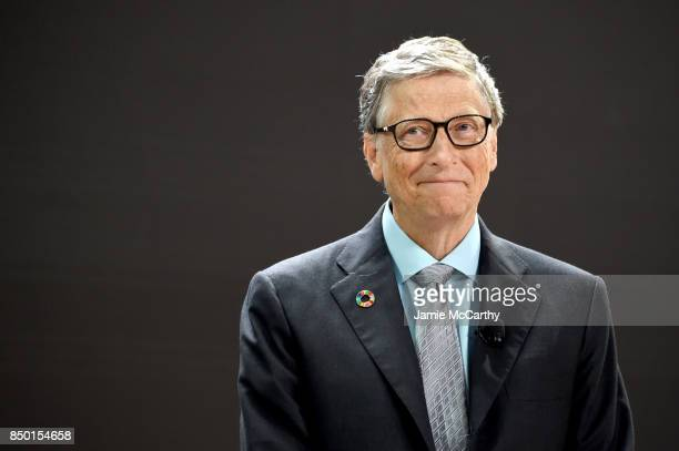 Bill Melinda Gates Foundation cofounder Bill Gates speaks speaks at Goalkeepers 2017 at Jazz at Lincoln Center on September 20 2017 in New York City...