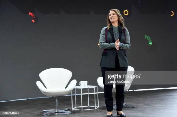 Bill Melinda Gates Foundation cofounder Melinda Gates speaks at Goalkeepers 2017 at Jazz at Lincoln Center on September 20 2017 in New York City...