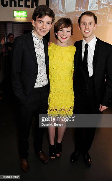 Bill Milner Eloise Laurence and Robert Emms attend the UK premiere of 'Broken' at the Hackney Picturehouse on March 4 2013 in London England