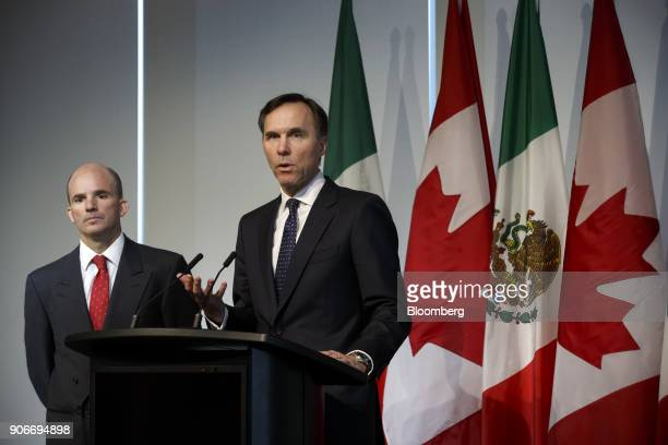Bill Morneau, Canada's finance minister, right, speaks while Jose Antonio GonzalezAnaya, Mexico's finance minister, listens during a joint news...