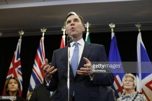 Bill Morneau Canada's finance minister speaks during a press conference after meeting with his provincial and territorial counterparts in Ottawa...