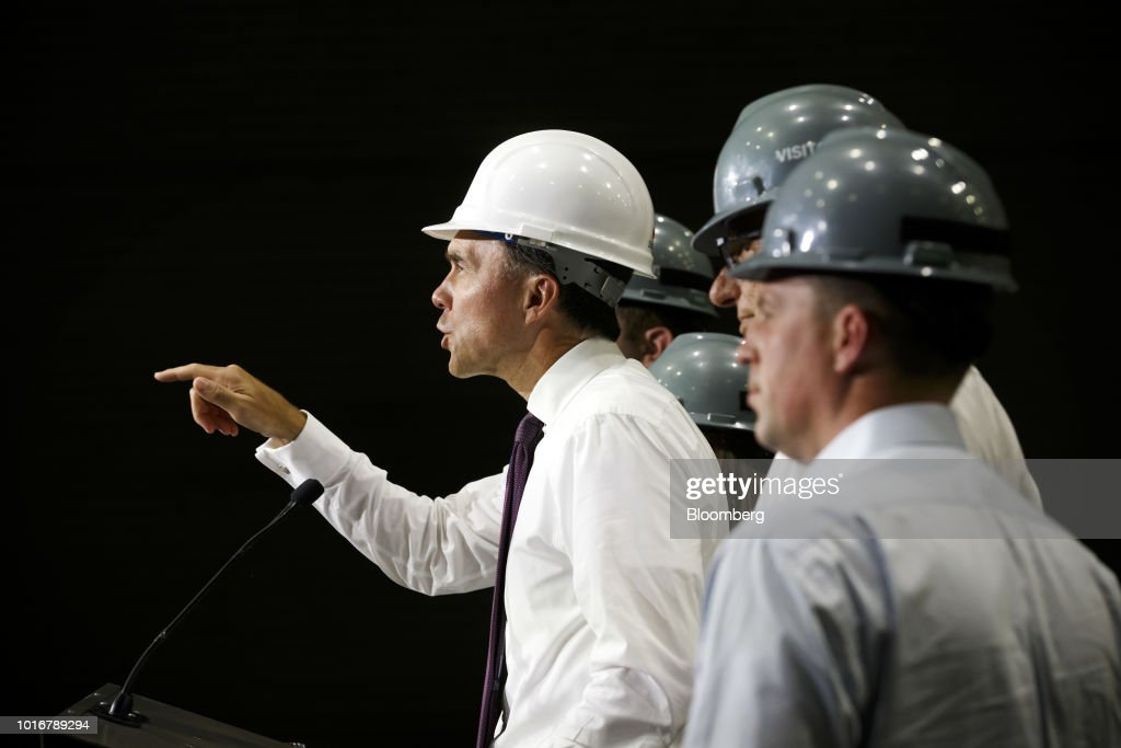 Canada's Finance Minister Bill Morneau Speaks At The ArcelorMittal Dofasco Inc. Steel Plant