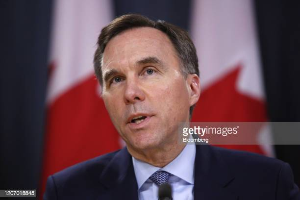 Bill Morneau, Canada's minister of finance, speaks during a news conference in Ottawa, Ontario, Canada, on Friday, March 13, 2020. TheBank of...