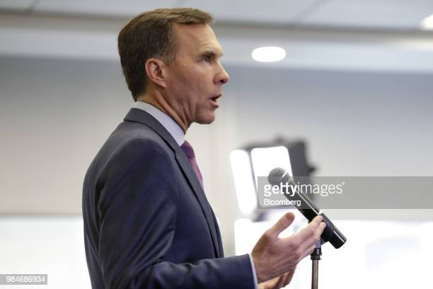 Bill Morneau Canada's minister of finance speaks during a press conference following a meeting with provincial and territorial finance ministers in...
