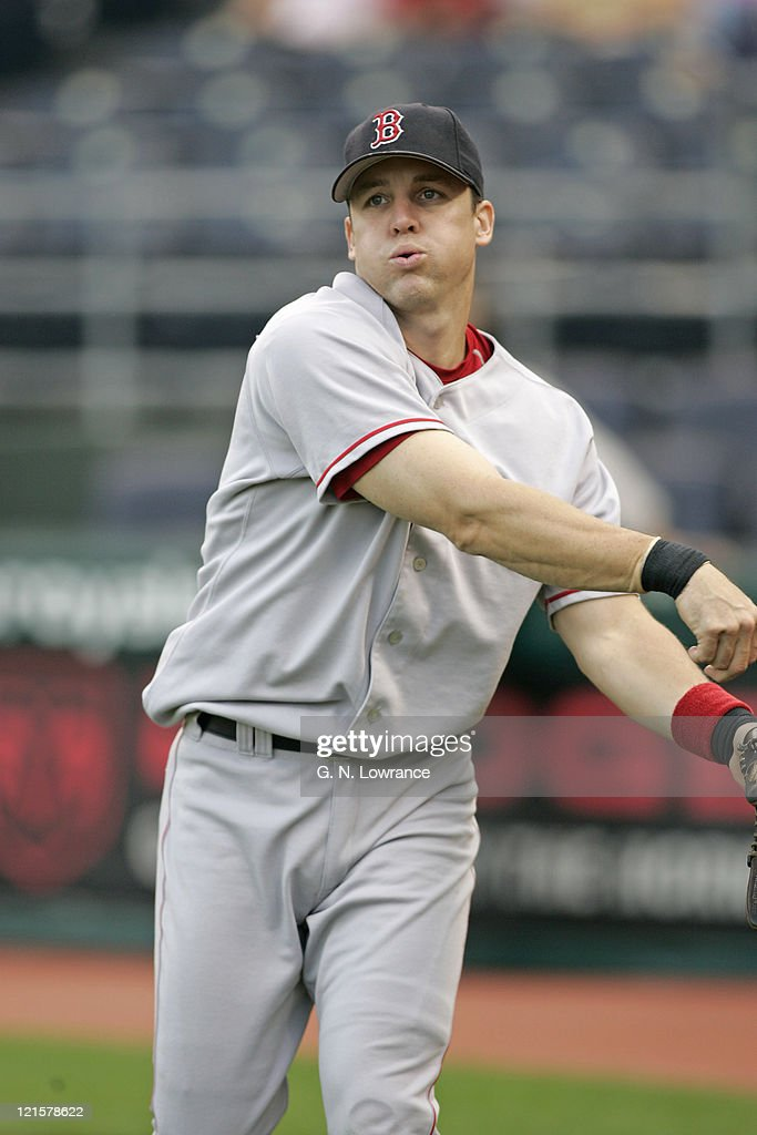 Bill Mueller of the Boston Red Sox warms up prior to a game against the Kansas City Royals at Kauffman Stadium in Kansas City, Mo. on August 25, 2005. The Royals won 7-4.