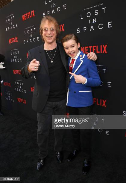 Bill Mumy and Maxwell Jenkins attend Netflix's 'Lost In Space' Los Angeles premiere on April 9 2018 in Los Angeles California