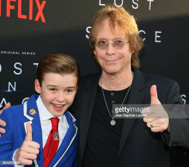 Bill Mumy and Maxwell Jenkins attend the premiere of Netflix's 'Lost In Space' Season 1 on April 9 2018 in Los Angeles California