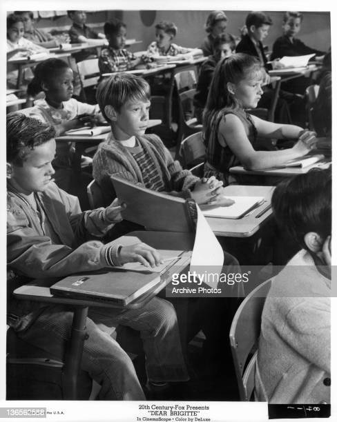 Bill Mumy at his desk in class in a scene from the film 'Dear Brigitte' 1965