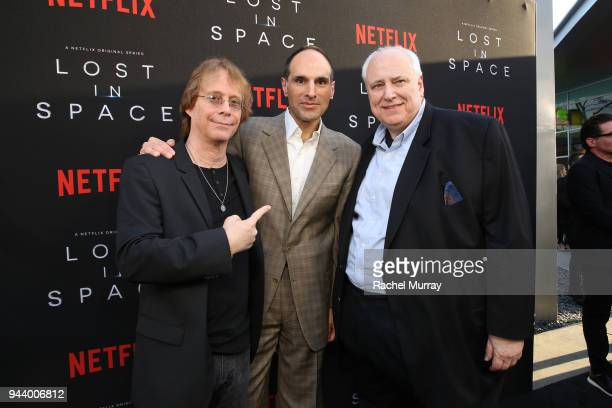 Bill Mumy Jon Jashni and Kevin Burns attend Netflix's 'Lost In Space' Los Angeles premiere on April 9 2018 in Los Angeles California