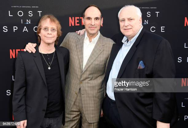 Bill Mumy Jon Jashni and Kevin Burns attend the premiere of Netflix's 'Lost In Space' Season 1 at The Cinerama Dome on April 9 2018 in Los Angeles...