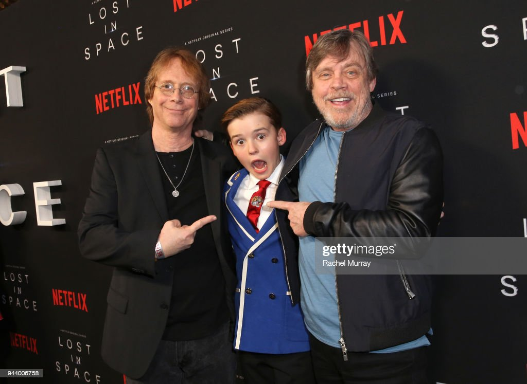 Bill Mumy, Maxwell Jenkins, and Mark Hamill attend Netflix's 'Lost In Space' Los Angeles premiere on April 9, 2018 in Los Angeles, California.