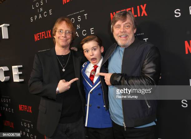 Bill Mumy Maxwell Jenkins and Mark Hamill attend Netflix's 'Lost In Space' Los Angeles premiere on April 9 2018 in Los Angeles California
