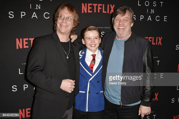 Bill Mumy Maxwell Jenkins and Mark Hamill attend the 'Lost In Space' Season 1 Premiere at ArcLight Cinerama Dome on April 9 2018 in Hollywood...