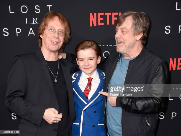 Bill Mumy Maxwell Jenkins and Mark Hamill attend the premiere of Netflix's 'Lost In Space' Season 1 at The Cinerama Dome on April 9 2018 in Los...