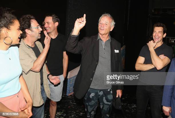 Bill Muray chats with the cast backstage at the hit musical based on the 1993 Bill Murray film Groundhog Day on Broadway at The August Wilson Theatre...