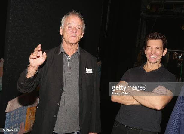Bill Murray and Andy Karl chat backstage at the hit musical based on the 1993 Bill Murray film Groundhog Day on Broadway at The August Wilson Theatre...