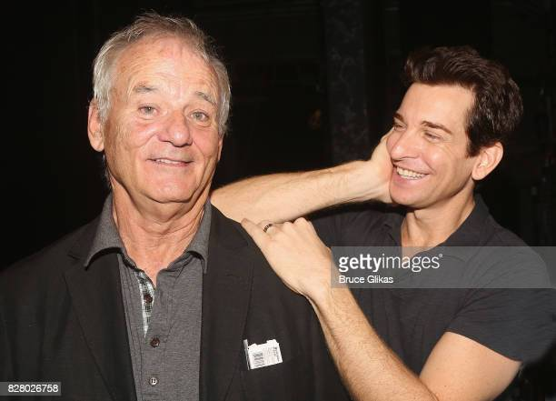 Bill Murray and Andy Karl pose backstage at the hit musical based on the 1993 Bill Murray film Groundhog Day on Broadway at The August Wilson Theatre...