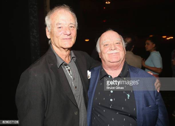 Bill Murray and brother Brian Doyle Murray pose backstage at the hit musical based on the 1993 Bill Murray film Groundhog Day on Broadway at The...