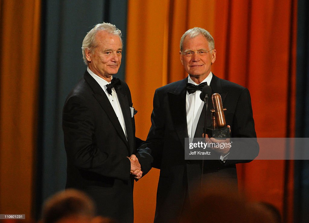 Bill Murray (L) and David Letterman speak onstage at the First Annual Comedy Awards at Hammerstein Ballroom on March 26, 2011 in New York City.