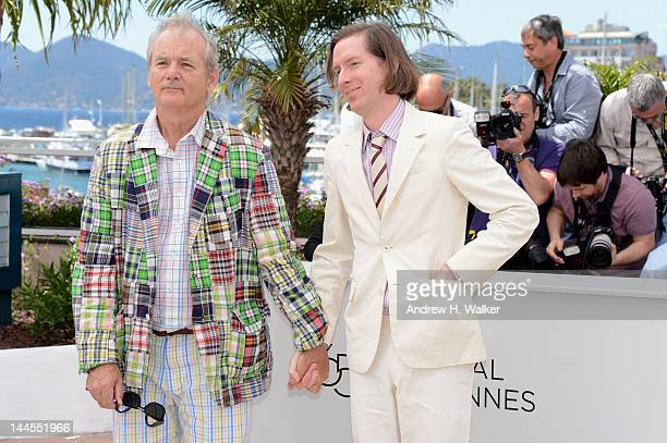 Bill Murray and director Wes Anderson pose at the Moonrise Kingdom photocall during the 65th Annual Cannes Film Festival at Palais des Festivals on...